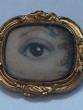 Antique georgian victorian lovers eye or broche pin bijoux sept 6TH 1847