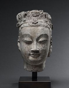 Asia Week New York 2014: Gisèle Croës s.a. Bodhisattva Head Limeston Northern Qi Dynasty (550-577) China Height: 10.5 inches (29 cm)