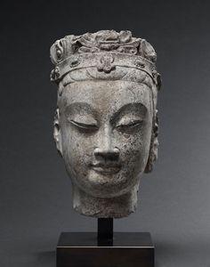 Bodhisattva Head. China, Northern Qi Dynasty (550-577). Limestone. Height: 10.5 inches (29 cm). Asia Week New York