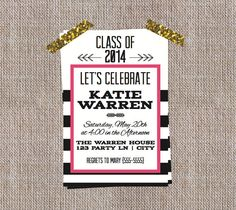 Girly Graduation Party Invitation | Printable Graduation Invite | $15 from Antsy Designs