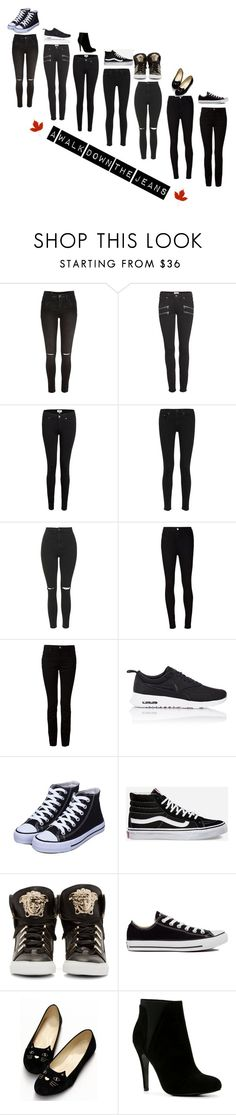 A Walk Down The Jeans by elirana-chase on Polyvore featuring AG Adriano Goldschmied, Paige Denim, Alexander Wang, rag & bone, River Island, Topshop, Versace, NIKE, ALDO and Vans