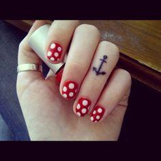 #pretty #prettytattoo #prettytattoos #cute #cutetattoo #cutetattoos #cutegirlytattoos #girly #girlytattoo #girlytattoos #tattoo #tattoos #tatted #tattooed #ink #inked  #polkadots #cutenails #red #amchor #anchortattoo #anchortattoos #fingertattoo #fingertattoos