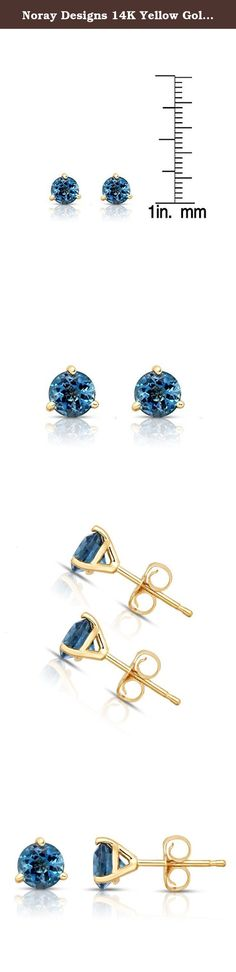 Noray Designs 14K Yellow Gold London Blue Topaz Stud Earrings (5 MM; Round; Martini). These simple and beautiful stud earrings feature 5 mm round cut London Blue Topaz gemstones in Martini setting, secured with butterfly backs. These lovely and darling stud earrings mounted in 14K Yellow Gold. These earrings are perfect for every day wear and will make a wonderful addition to your jewelry collection. The total carat weight may range from 0.78-0.84 carats. The product comes with a 30 Day...