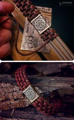 OBEREG - Paracord bracelet with weaving MasterAlexKnot & Exclusive Brass bead Paracord Braids, Paracord Bracelets, Braided Bracelets, Handmade Bracelets, Bracelets For Men, Handmade Jewelry, Paracord Tutorial, Paracord Ideas, Dad Bracelet