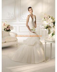 Sexy Brautkleid aus Tüll im Meerjungfrauenstil mit weiß und silber Perlenstickerei 2013