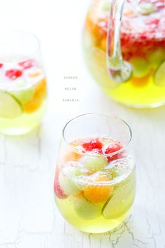 Ginger Melon Sangria Summer in a glass, this Melon Sangria recipe features 3 different kinds of melon and a hint of ginger and lime! Party Drinks, Cocktail Drinks, Fun Drinks, Beverages, Fall Cocktails, Milk Shakes, Summer Sangria, Summer Drinks, White Sangria