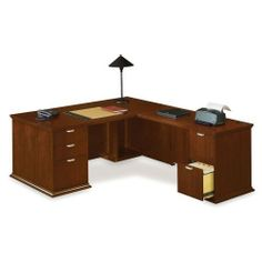 National Office Furniture LDesk with Right Return by National Office Furniture. $3049.00. LDesk with Right Return features timeless craftsmanship and quality. Features include prominent cornice and satin nickel hardware. Finished in rich Amber Cherry, Cordovan, and Mocha veneers, the Escalade line reflects the extraordinary qualities that set you apart from the rest.Outfitted with two utility drawers and three file drawers that lock. Drawers have full extension glides and acc...