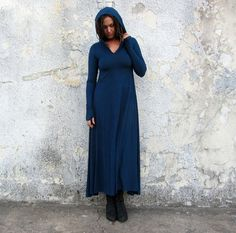 Howrah Hooded Long Dress light hemp/organic by gaiaconceptions
