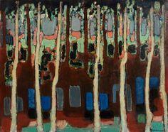 Zdzislaw Ruszkowski (Polish, 1907-1991), Poplars and Canal, 1962. Oil on canvas, 71.9 x 90.3cm. Aberdeen Art Gallery & Museums.