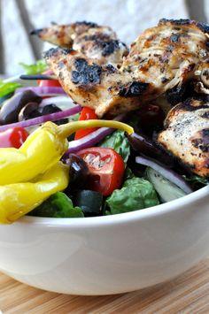 Paleo Greek salad with chicken skewers