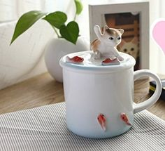 [Flash Sale] Homee Cute Hand-painted Franz Stereoscopic Animal Pattern Cup Creative 3D Ceramic Cup Coffee Mug with Lid, The Lid Can Be Used as Mobile Phone Holder Perfect Gift Choice (Kitty)