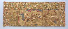 Stole with the Martyrdom of St. Catherine. ca. 1200. Made in Rhineland, Germany. Silk embroidery with linen underlay. MMA.