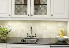 Black Countertop Antiqued Ivory Kitchen Backsplash Tile From