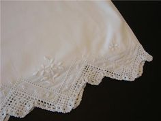 hand embroidered pillowcases white | Vintage Pillowcase Beautiful White Hand Embroidery French Knots ...