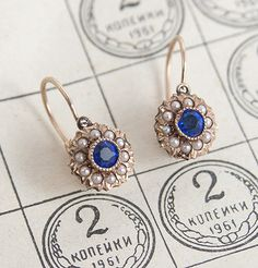 Aren't these just the most divine little things? @Erica Cerulo Weiner always finds the most outstanding vintage jewels. {Antique Sapphire and Pearl Cluster Earrings, via Erica Weiner}