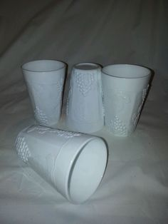 Indiana Harvest Colony Opaque Milk Glass Juice Tumblers set of 4