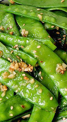 Garlic Snow Peas Stir Fry ❊ Pea Recipes, Side Dish Recipes, Vegetable Recipes, Vegetarian Recipes, Cooking Recipes, Healthy Recipes, Vegan Vegetarian, Vegetable Sides, Vegetable Side Dishes