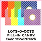 lots of dots party printables - water bottle labels, candy wrappers, hats, menu signs, etc.