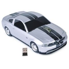 3-Button Road Mice Ford Mustang GT 2.4GHz Wireless Optical Scroll Mouse w/Nano USB Receiver (Silver/Black Stripes)