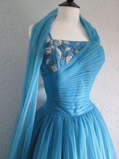 Original Vintage 50s  California  Beaded Prom Party Dress & Sash Full Skirt