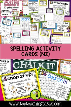 These spelling activity task cards and Print and Go student worksheets are designed to save you time while providing students with a range of fun and interactive ways to practice their spelling words. They work with ANY spelling list, so they are perfect for differentiated learning. Use these spelling activities as a literacy station activity or for morning bell work, homework, or as an early finisher resource. Year 2, Year 3, Year 4, Year 5, Year 6, Year 7, Year 8.
