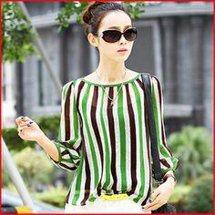 da9417d40e3 Aliexpress.com   Buy Female Chiffon shirt in summer 2015 plus size for  women shirt stripe long sleeve stripe leisure cultivate one s morality shirt  from ...