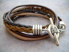Mens Leather Bracelet  Four Strand Double por UrbanSurvivalGearUSA