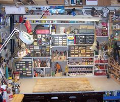 Your Workbench - Model Railroader Magazine - Model Railroading, Model Trains… Hobby Desk, Hobby Room, Garage Workshop Organization, Electronic Workbench, Model Maker, Hobby Trains, Ideias Diy, Train Layouts, Model Building