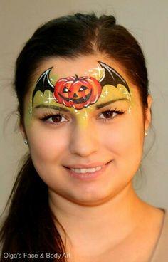 Olga Meleca pumpkin Halloween design Face painting                              …