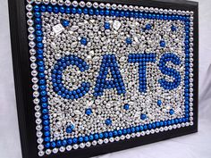 "University of Kentucky Framed Mardi Gras bead mosaic, ""CATS"" , silver and blue, SEC, college dorm, sports, Custom Order, graduation. $44.00, via Etsy."