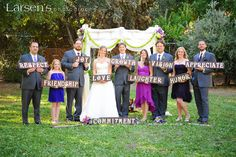 Bridal party photo with words of encouragement {So Eventful wedding & events}