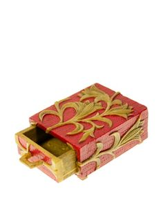 54% OFF The Niger Bend Small Single-Drawer Soapstone Box with Orchid Design, Red