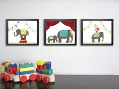 Kids Wall Art Circus Elephant Nursery Art Nursery by justbunch. $75.00 USD, via Etsy.