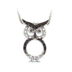 DB Designs Sterling Silver Black Diamond Accent Owl Necklace  sleepingbeautyrose