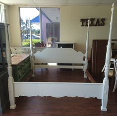 Here is a King size four post bed with headboard, footboard and rails. I painted it a distressed white. SOLD!! for $350
