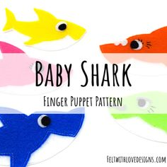 A Baby Shark finger puppet is a great way to make the song come alive! Sew Baby Shark and his family with this free finger puppet pattern. Felt Finger Puppets, Hand Puppets, Animal Sewing Patterns, Stuffed Animal Patterns, Softie Pattern, Free Pattern, Baby Hai, Baby Sewing, Sew Baby