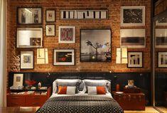 Dormitorio integrado en la sala, estilo industrial, colores cálidos, Luiz Fernando Grabowsky