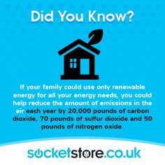 Did you know? You could help reduce #emissions this much? #energy #home #facts www.socketstore.co.uk