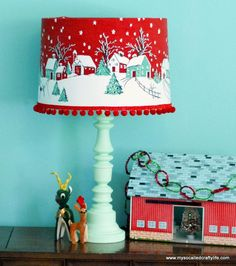 Vintage Christmas Tablecoth Lampshade Tutorial, what a clever idea! ~ Mary Walds Place - DIY Vintage Tablecloth Covered Christmas Lampshade - My So Called Crafty Life Noel Christmas, Christmas Projects, Holiday Crafts, Xmas, Christmas Mantles, Father Christmas, White Christmas, Holiday Ideas, Christmas Ornaments