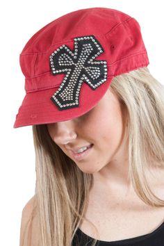 Red Cadet hat with rhinestone cross