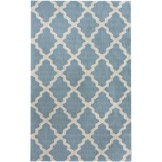 Hand-hooked wool rug with a trellis motif.   Product: RugConstruction Material: 100% WoolColor: Blue...