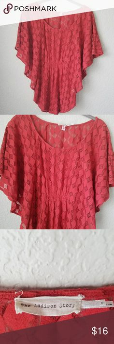 {Anthropologie} Orange batwing top Size small length - 27 inches chest -  16.5 inches (measured flat) Photos are the description of this item.? Any flaws will be noted.? Otherwise article is in excellent condition.? The Addison Story  Tops