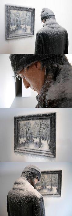 Man Freezes Alongside Icy Painting in Laurent Pernot's Surreal Self-Portrait Sculpture