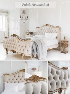 The French Bedroom Company Blog, Introducing our New French Beds The Palais Avenue White & Gold Upholstered French Bed