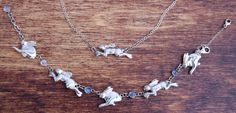 Sterling Silver and Rainbow Moonstone Hare Bracelet