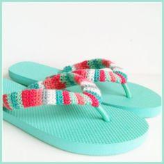 stripey crochet flip flops