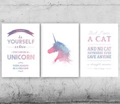 The Last Unicorn  Set of 3 Peter Beagle Quotes by PrintableRandoms, $10.00