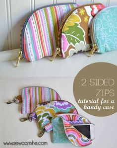 Show off your favorite fabrics (and your sweet zipper skills) with these  fun little zipper pouches. They are just the right size for your smart  phone and there's a handy little pocket for your id and a couple cards. I  love how the 2 sided zipper opens up to show off the lining. It's perfect  for coordinating prints... will you put your favorite fabric on the outside  so everyone sees it right away or on the inside for a shocking surprise?