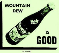 Mountain dew | Mountain Dew | madmenpodcast.com Old Bottles, Vintage Bottles, Vintage Ads, Pepsi, Coke, Mnt Dew, Carbonated Soft Drinks, Best Soda, Soda Machines