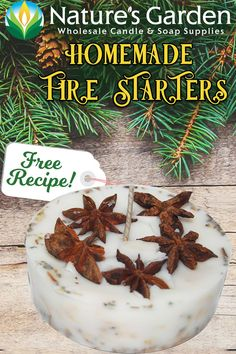 Free Homemade Fire Starter Recipe by Natures Garden. Homemade Fire Starters, Candle Labels, Candle Packaging, Unique Candles, Diy Candles, Candles In Fireplace, Homemade Candles, Homemade Gifts, Candle Making Supplies